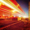 public transport metropolis, traffic and blurry lights train at night, Moscow, Russia